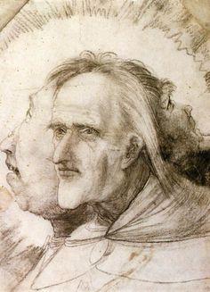 "Matthias Grünewald, ""The Triple Face"" (c.1525). Black chalk on brownish paper, 272 x 199 mm. Staatliche Museen, Berlin."