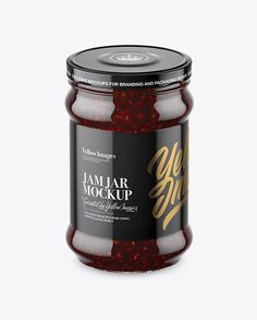 Clear Glass Jar with Raspberry Jam Mockup (High-Angle Shot)