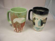 PAIR Vintage Matthew Adams Pottery Alaska Series Large Mugs