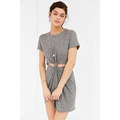 Knot Front T Shirt Dress in Gray Casual cool cut out front T shirt dress in gray. Cut short with cut outs at the front of the knot front waist. Banded crew neck and short sleeves. The same dress is available through Urban Outfitters for $49 Dresses