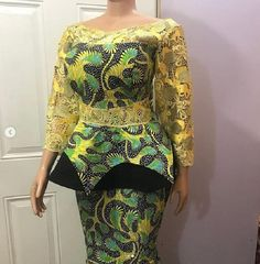 Classy picture collection of Beautiful Ankara Skirt And Blouse Styles These are the most beautiful ankara skirt and blouse trending at the moment. If you must rock anything ankara skirt and blouse styles and design. Ankara Skirt And Blouse, Ankara Dress, Dress Skirt, Lace Dress, African Wear Dresses, African Attire, African Outfits, African Traditional Dresses, Traditional Outfits