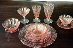 I would love to have the full set: Fostoria Depression Glass Pink Versailles