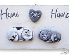 Unique Handmade 'Home Sweet Home' Owls Artwork | 3-D Painting Made with Painted Pebbles, Twig and a Marble Heart