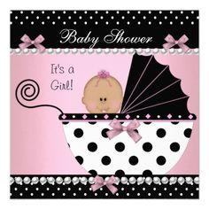 20 best elegant baby shower invitations images on pinterest baby baby shower cute baby girl pink black bow invitation filmwisefo