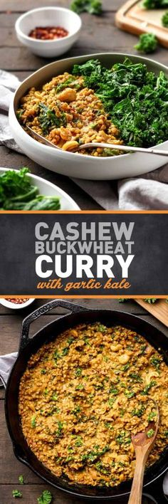 Cashew Buckwheat Curry with Garlic Kale - Full of Plants Curry Recipes, Raw Food Recipes, Veggie Recipes, Vegetarian Recipes, Cooking Recipes, Healthy Recipes, Cooking Tips, Healthy Food, Turmeric Recipes