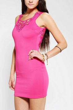 One Rad Girl Mariana Bodycon Lace Dress : lace front and back detail! #hotpink