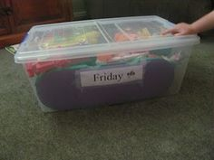 A toy tub for each day of the week to stop the kids from getting bored….very clever!