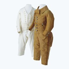Boys skeleton suits, Basel, late 18th Century, bleached linen. Appears to be a one-piece garment but is composed of two parts, a relatively short jacket and ankle-length slim pants. Both items of clothing have several buttons at the waist and center front of the jacket.