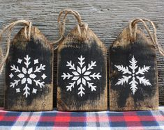 Christmas Decor Let It Snow Wood Tags Rustic Cabin Decor Distressed Snowflake Winter Decor Hanukkah Diy Christmas Ornaments, Christmas Signs, Rustic Christmas, Christmas Art, Handmade Christmas, Black Christmas, Wooden Christmas Decorations, Christmas Crafts To Sell, Christmas Projects
