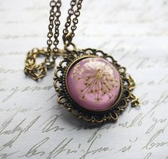 Purple Real Flower Necklace by NaturalPrettyThings.
