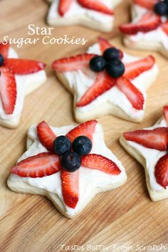 Patriotic Star Sugar Cookies on MyRecipeMagic.com - super soft sugar cookie with buttercream frosting and topped with fresh fruit!