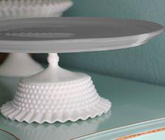 "15"" Cake Stand / Gray Grey Cake Pedestal Stand Cupcake Stand / Cake Platter Pedestal / Cake Dish / Wedding Cake Stand for Platinum Weddings. $150.00, via Etsy."