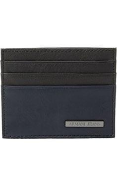 Armani Jeans Men's Genuine Leather Color Block Credit Card Holder, Black/Grey, One Size ❤ Armani Jeans Men's Accessories