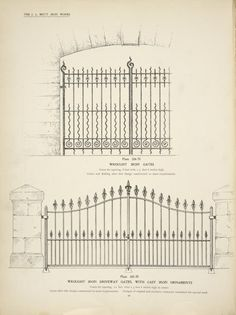 Wrought iron gates. [Plate 324-N] ; Wrought iron driveway gates, with cast iron ornaments.