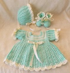 Crochet Baby Green Mint Green and Ivory by sweetpeacollections, $25.00