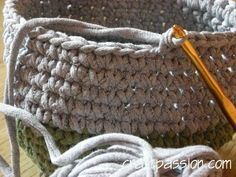 Tee shirt yarn bags/baskets