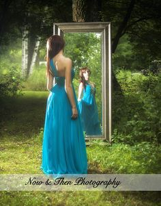 Now  Then Photography | Balsam Lake, WI | Posts | Senior Pictures | Girl | Prom Dress | Mirror | Outside