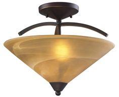 ELK Lighting 7643/2 Elysburg 2-Light Semi-Flush Mount, Aged Bronze