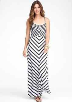 bebe Cross Front Stripe Maxi Dress