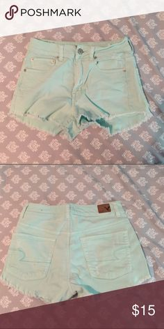 American Eagle Shorties Mint green, high wasted American Eagle shorts! Have a cut off look! Worn only a couple times American Eagle Outfitters Shorts Jean Shorts