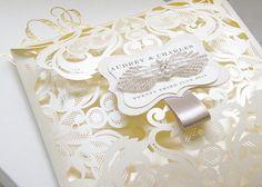 Laser Cut Wedding Invitations Gatefold A Set Of 100 Embellished with Handmade Beaded Applique by luxuryweddinvitation