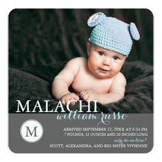 Sweet Monogram Baby Boy Birth Announcement Square Invitation Card