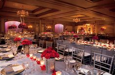 Royal conference-style tables create a lovely formality in the Grand Ballroom at The Ritz-Carlton, Atlanta. Romantic red roses provide a brilliant burst of color against the monochromatic color palette. Atlanta Wedding Venues, Cheap Wedding Venues, Wedding Reception Locations, Beautiful Wedding Venues, Barn Wedding Venue, Wedding Ideas, Reception Ideas, Cheap Wedding Packages, Atlanta Hotels