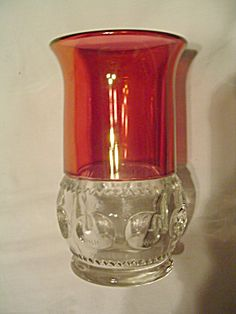 Vintage Kings Crown Cranberry Flared Top Iced Tea Flat Glass