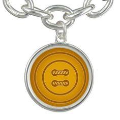 Pumpkin Orange Sewing Button Bracelet