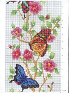 Segundo gráfico Butterfly Cross Stitch, Just Cross Stitch, Cross Stitch Heart, Cross Stitch Flowers, Cross Stitching, Cross Stitch Embroidery, Embroidery Patterns, Cross Stitch Designs, Cross Stitch Patterns
