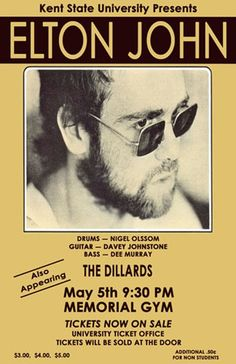 Elton John 1972 Kent State University Concert Poster. $15.00, via Etsy.