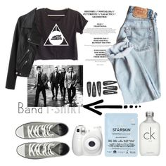 """""""I'm With the Band"""" by nastya-d ❤ liked on Polyvore featuring Converse, Calvin Klein, Acne Studios, Starskin, bandtshirt and bandtee"""
