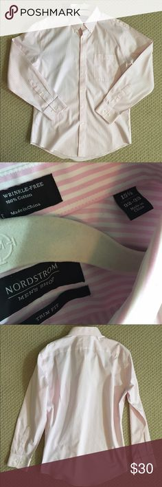 SALE! EUC Pink/White Striped Nordstrom Button Down This pink and white striped button down from Nordstrom is in excellent condition! The trim fit gives this shirt a modern twist on a very classic style. Size 15 1/2; 32 Nordstrom Shirts Dress Shirts