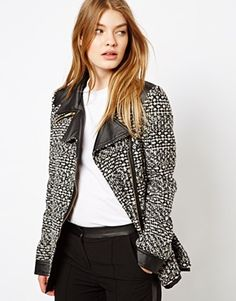 Barneys Originals Tweed Coat With Leather Look Collar