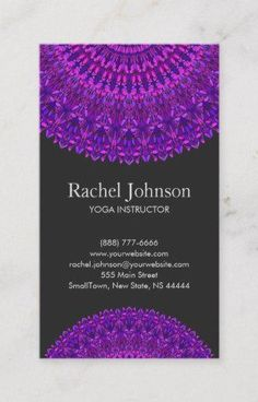 Shop Purple Floral Mandala Business Card created by ZyddArt. Art Business Cards, Beauty Business Cards, Elegant Business Cards, Business Card Size, Business Card Design, Print Templates, Mandala Design, Print Design, Floral Card