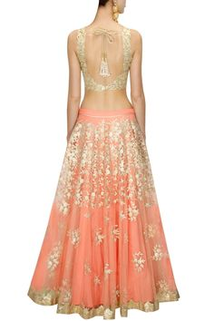 Peach embroidered lehenga with mint green cutwork blouse and yellow dupatta available only at Pernia's Pop-Up Shop.