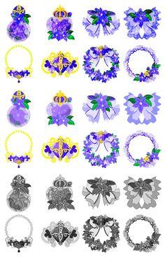 フリーのイラスト素材紫の花の可愛いアイコン / Cute Icons of purple flower by atelier-bw  ダウンロードはこちらから The downloading from this.