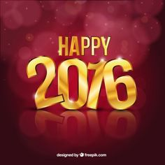 Happy 2016 background with golden letters I Free Vector
