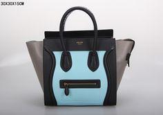 SAC CELINE LUGGAGE MINI BLEU CLAIR / NOIR / CENDRE 1.Marque  : celine 2.Style  : celine Luggage Mini 3.couleurs :  Bleu clair / noir / cendre 4.Matériel : Importer en cuir d'origine 5.Taille: W30 x H15 x D30 cm Celine Luggage, Luggage Bags, Tote Handbags, Clutches, Totes, Style, Celine Bag, Celine Handbags, Mini Handbags