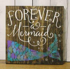 Forever a Mermaid/bathroom Sign/Pool Sign/Ocean Sign/Navy Blue/Wood Sign/Mermaid/Girls Room/Mermaid Decor/Mermaid