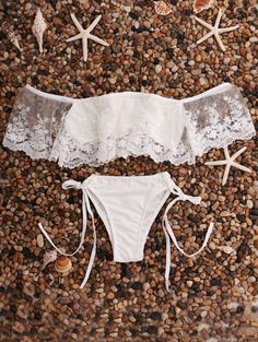 Lace Splice Off The Shoulder Bikini Set WHITE: Bikinis | ZAFUL | http://www.zaful.com/lace-splice-off-the-shoulder-bikini-set-p_176272.html