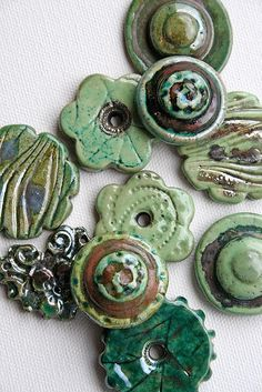 https://flic.kr/p/5ZB7ot | RAKU green cabs and buttons | Handmade Raku Fired Buttons and Cabochon Working on Inventory for berks bead Bazzar and Bead and Button Show!