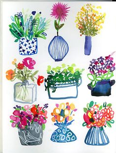 Plants and flowers in pots and vases Watercolor Sketchbook, Watercolor Cards, Watercolor Illustration, Watercolour Painting, Watercolor Flowers, Painting & Drawing, Watercolors, Posca Art, Painting Inspiration