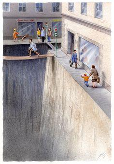 La rue est à elles (les voitures) : belle illustration métaphorique qui symbolise la réalité du piéton, dans la rue. Tout ce qui ne lui est pas destiné est transformé en précipice, que l'on peut uniquement traverser par des frêles passerelle.