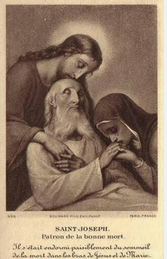 A most touching image of Our Lord and His Blessed Mother weeping over the dying Saint Joseph. Jesus, Mary, and Joseph assist me in my last agony. Catholic Quotes, Catholic Prayers, Catholic Art, Catholic Saints, Religious Art, Roman Catholic, Blessed Mother Mary, Blessed Virgin Mary, Image Jesus