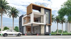 Panash Design Studio - Take a look of our best design list of Commercial Elevation Projects. Classic House Exterior, Modern Exterior House Designs, Best Modern House Design, Classic House Design, Exterior Design, 3 Storey House Design, Bungalow House Design, House Front Design, House Design Photos