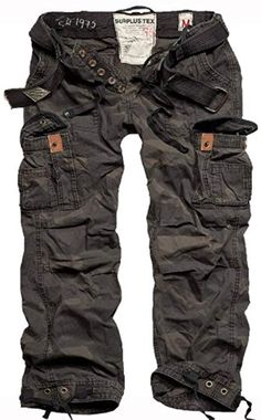 Surplus Premium Vintage Mens Combats Pants Trousers with Belt Work Black Camo Army Cargo Pants, Combat Pants, Mens Combat Trousers, Tactical Pants, Tactical Clothing, Army Navy Store, Travel Pants, Vintage Shorts, Trousers