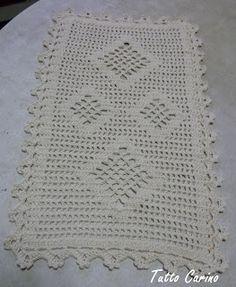Tutto Carino: Conjunto de tapetes crochê losango