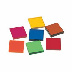 "About $7 from Learning Resources: Set of 50 0.75"" squares. Five each of 10 colors. Sort, pattern,"
