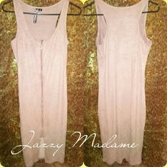 Faux Suede Bodycon Dress Faux Suede, Front zipper but can also be worn in back, Midi,Sleeveless..MAKE A OFFER Dresses Midi